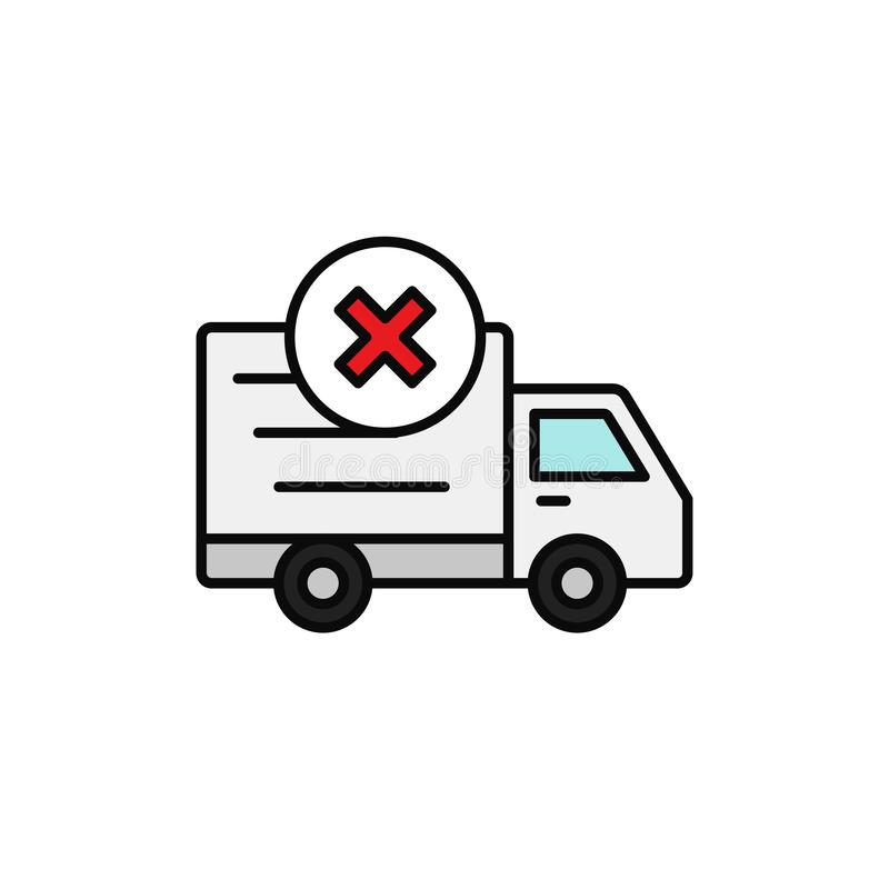 Delivery truck cross mark icon. not loaded car, lost shipment item illustration. simple outline vector symbol design. royalty free illustration