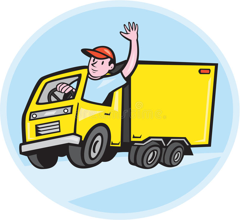 Delivery Truck Driver Waving Cartoon vector illustration