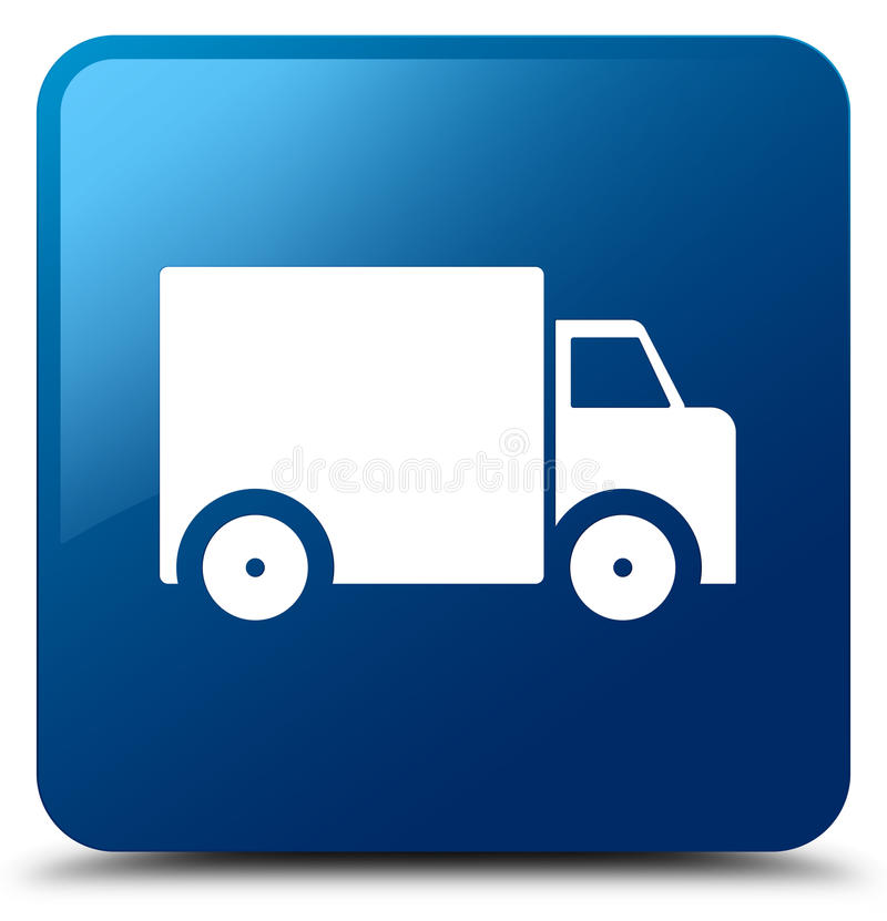 Delivery truck icon blue square button royalty free illustration