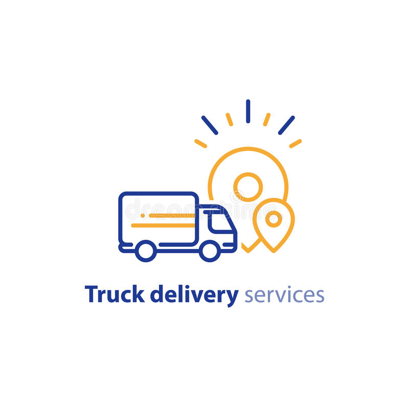 Delivery truck icon, order shipping, distribution services, relocation concept royalty free illustration