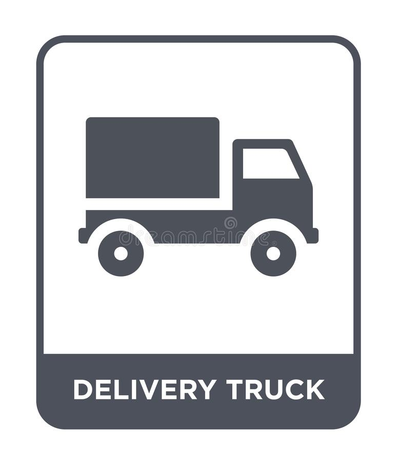Delivery truck icon in trendy design style. delivery truck icon isolated on white background. delivery truck vector icon simple. And modern flat symbol for web stock illustration