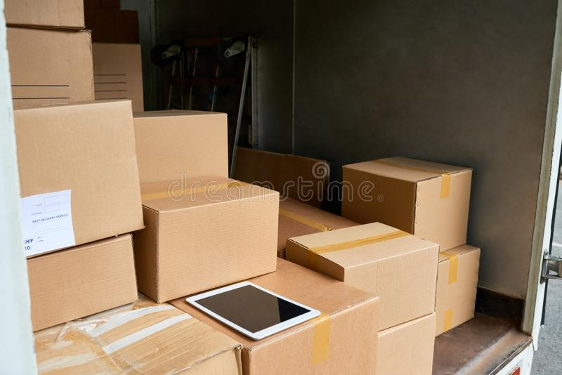 Delivery truck from the inside royalty free stock photo