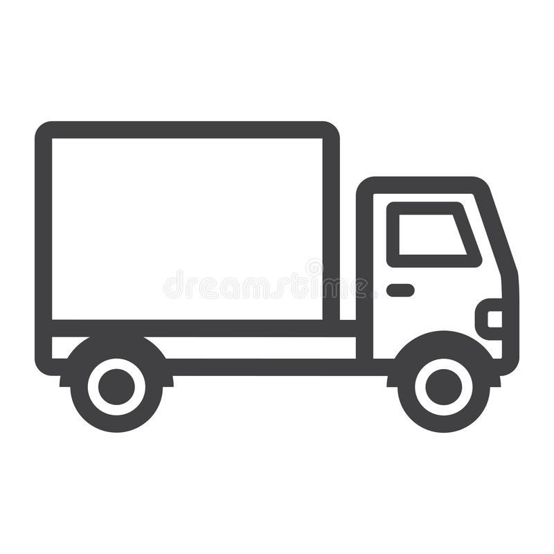 Delivery Truck line icon, transport and vehicle stock illustration
