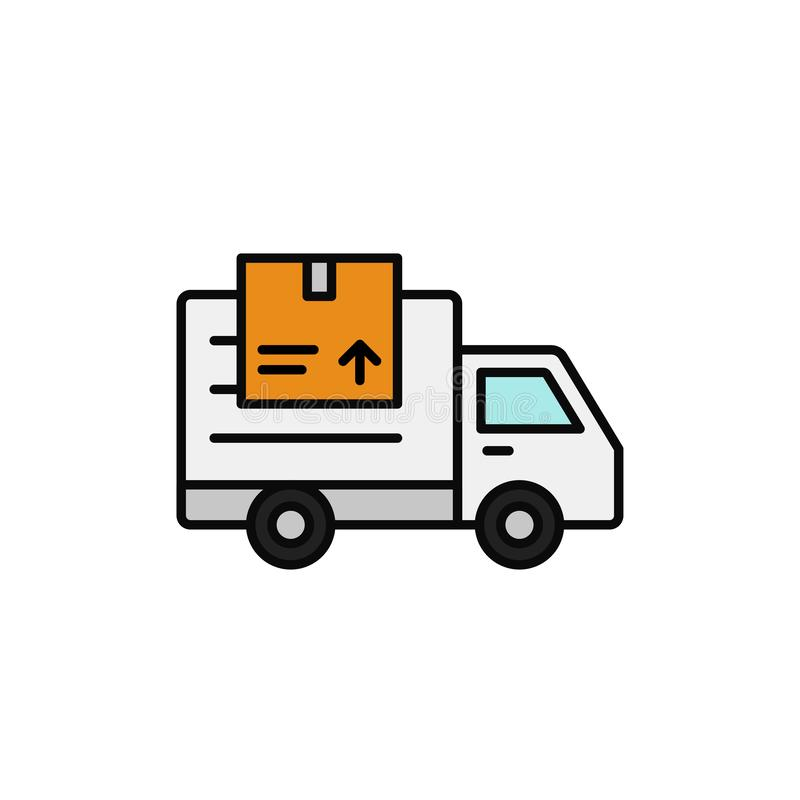 Delivery truck with package icon. shipment item transportation illustration. simple outline vector symbol design. Eps 10 graphic vector illustration