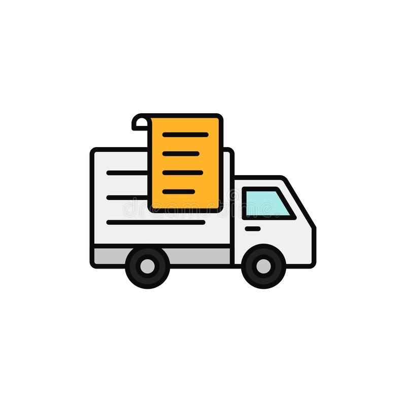 Delivery truck paper list icon. shipment report document illustration. simple outline vector symbol design. vector illustration