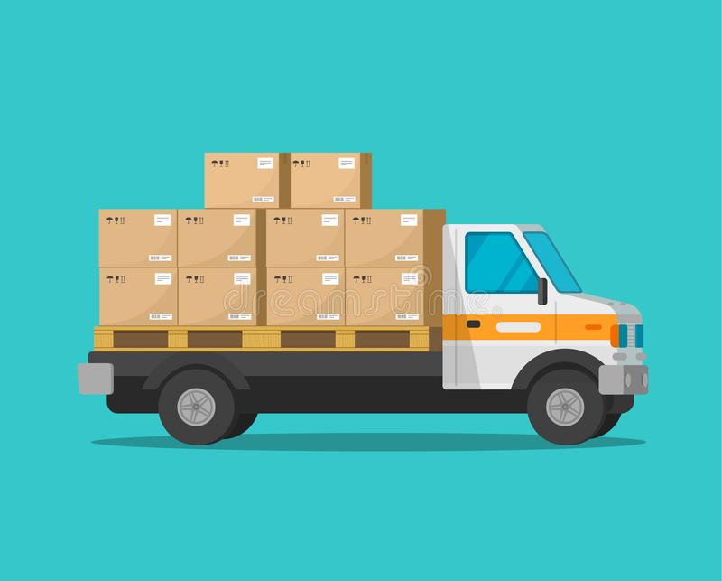 Delivery truck with parcel cargo boxes vector illustration, flat cartoon freight van or lorry automobile with packages. Isolated vector illustration