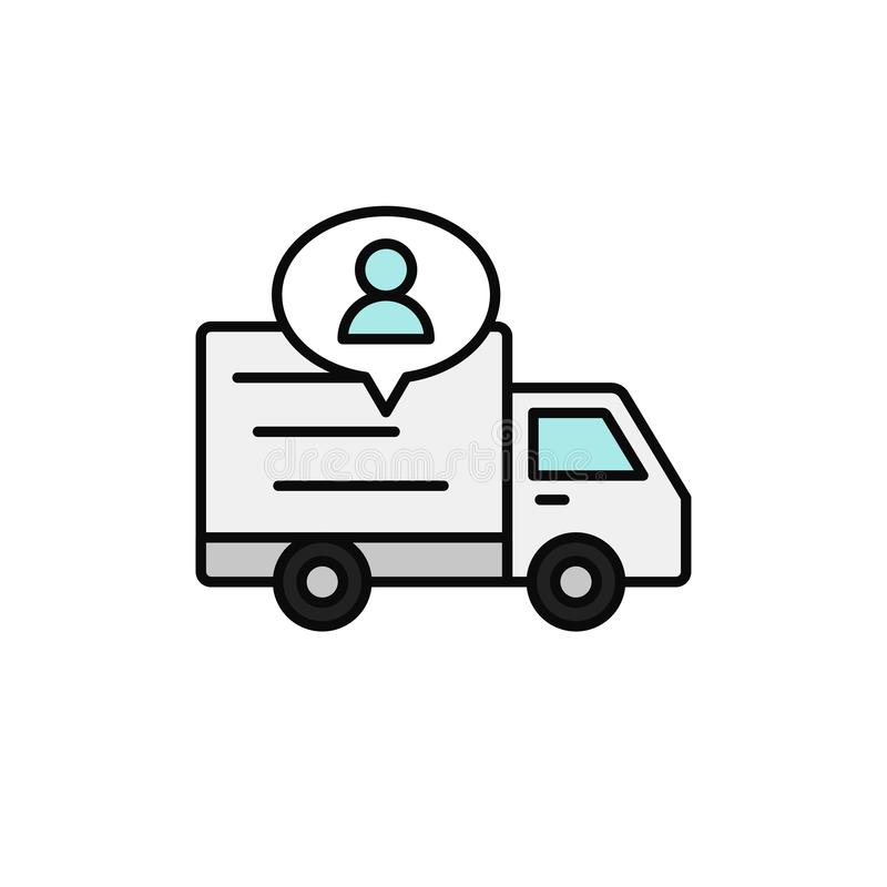 Delivery truck with people icon. shipment driver or courier information illustration. simple outline vector symbol design. vector illustration