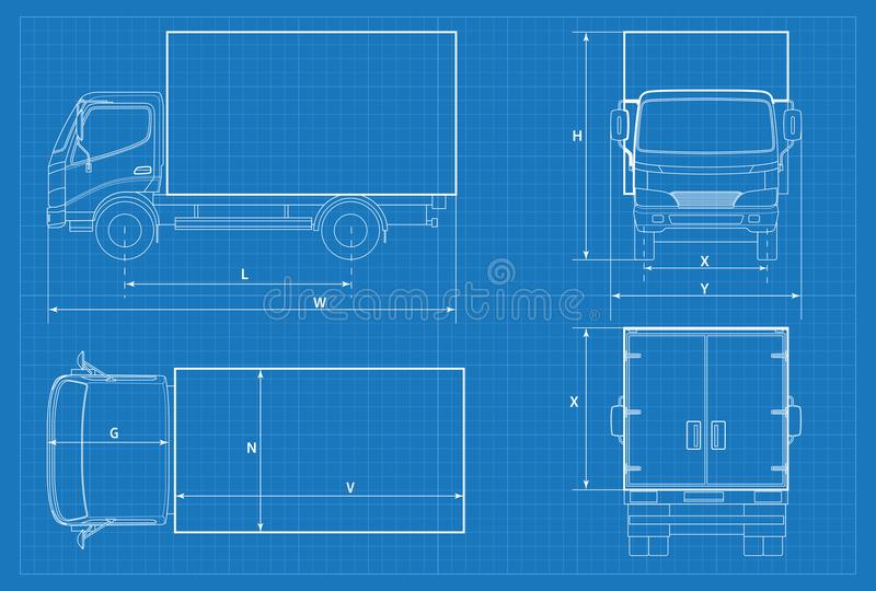 Delivery truck schematic or van car blueprint vector illustration download delivery truck schematic or van car blueprint vector illustration truck car in outline malvernweather Image collections