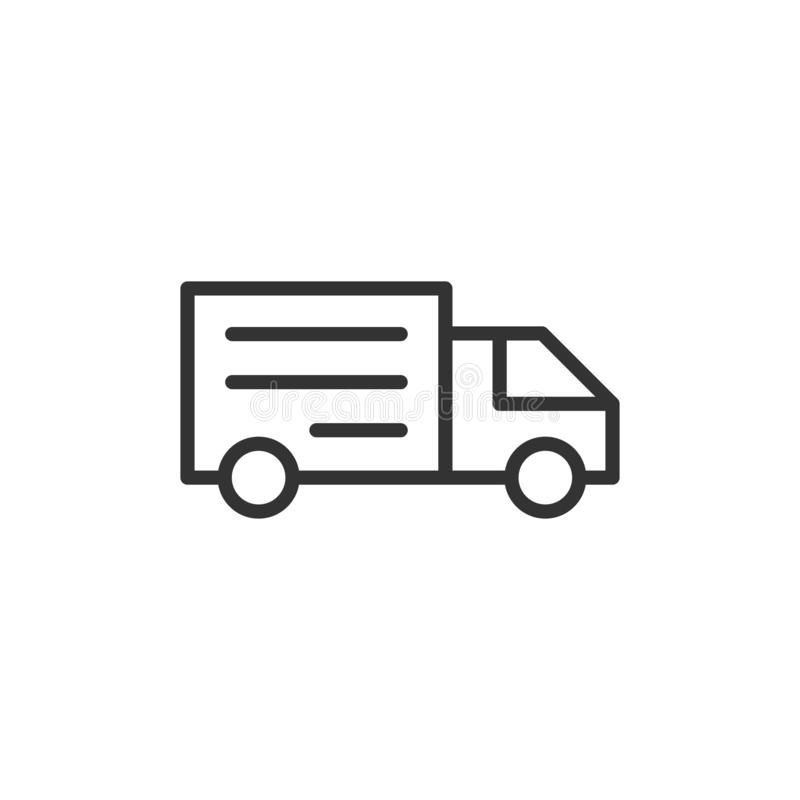 Delivery truck sign icon in flat style. Van vector illustration on white isolated background. Cargo car business concept royalty free illustration