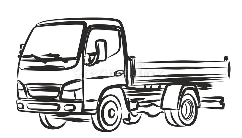 Delivery truck, sketch. stock vector. Illustration of drawing - 64623023
