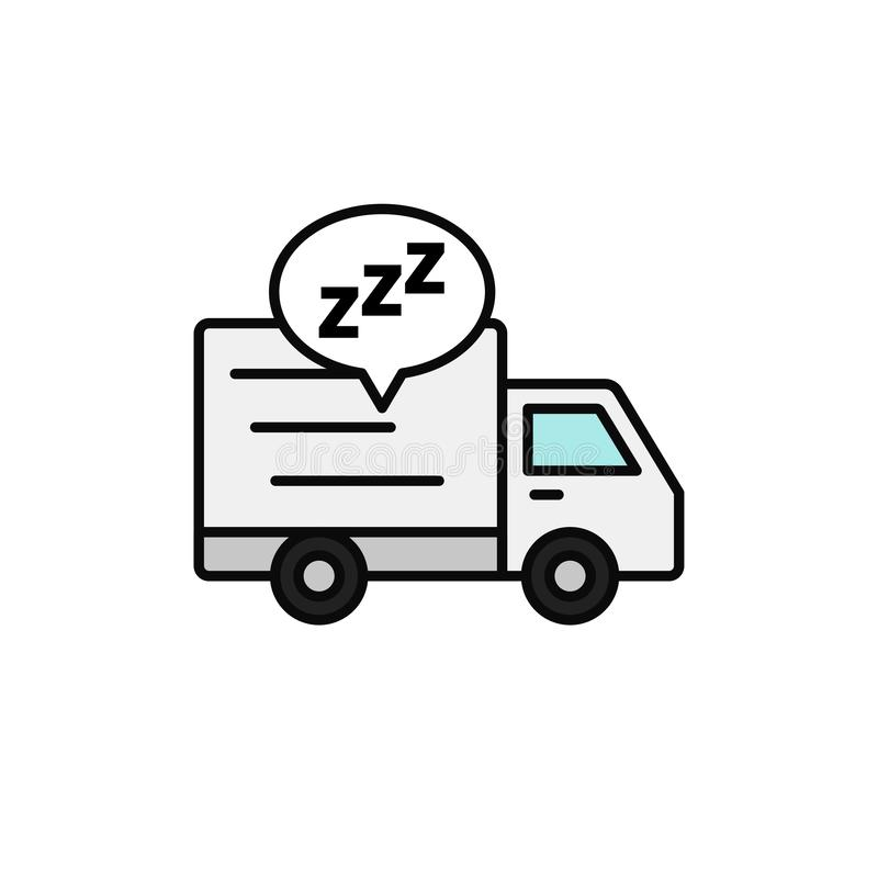 Delivery truck sleep icon. shipment courier take a break illustration. simple outline vector symbol design. royalty free illustration