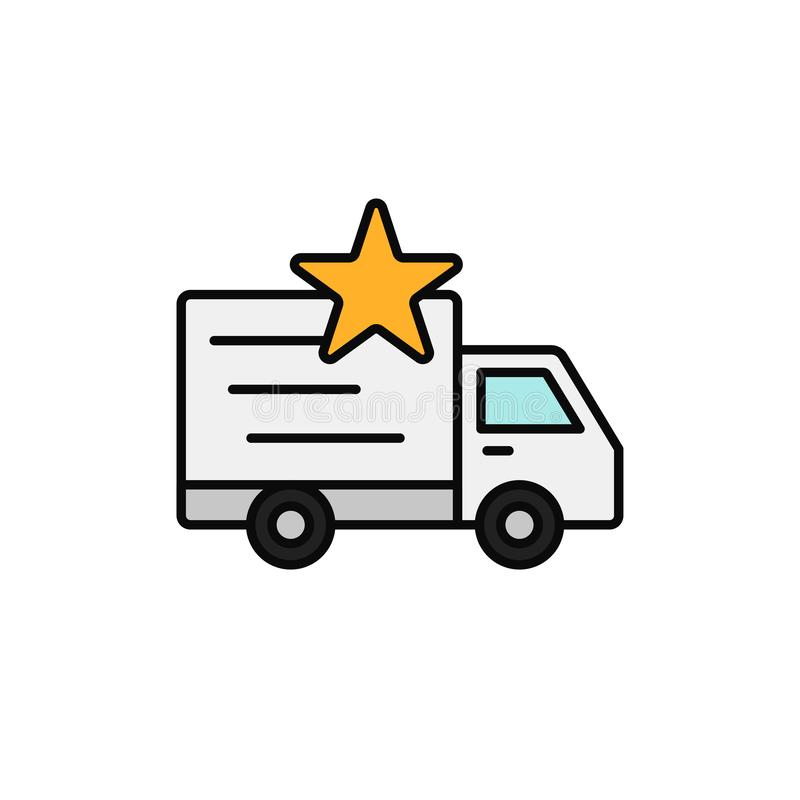 Delivery truck star icon. priority shipment item illustration. simple outline vector symbol design. royalty free illustration