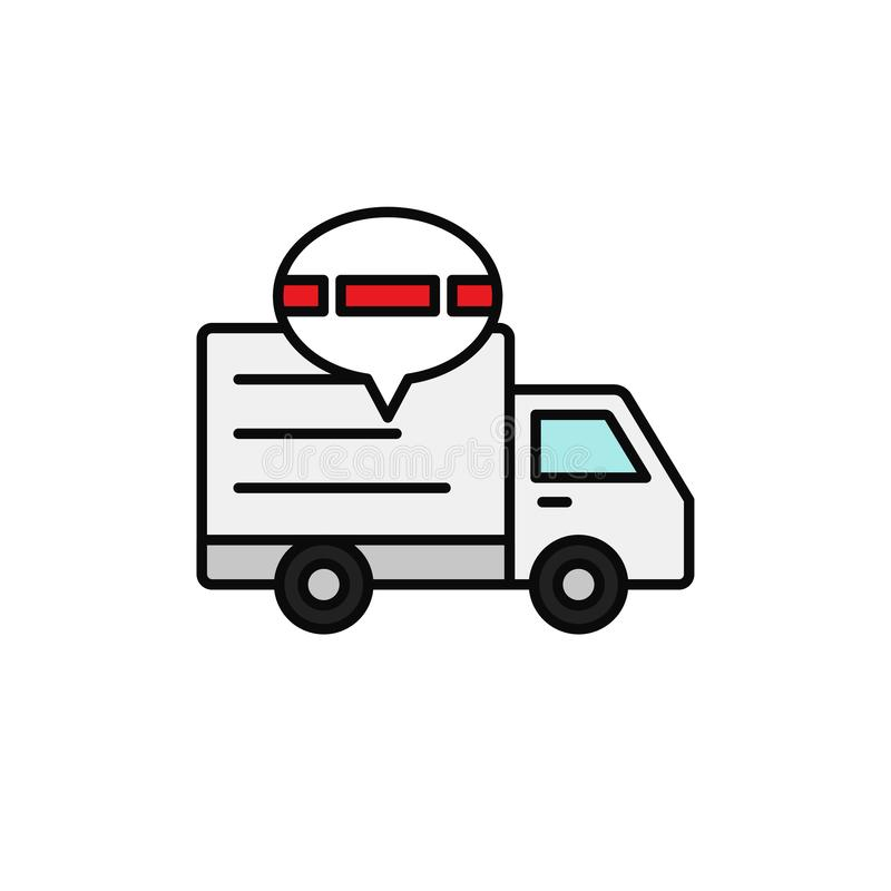 Delivery truck traffic jam icon. shipment delay illustration. simple outline vector symbol design. Eps 10 graphic stock illustration