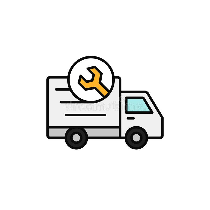Delivery truck with wrench icon. shipment car under repair in machine shop illustration. simple outline vector symbol design. stock illustration