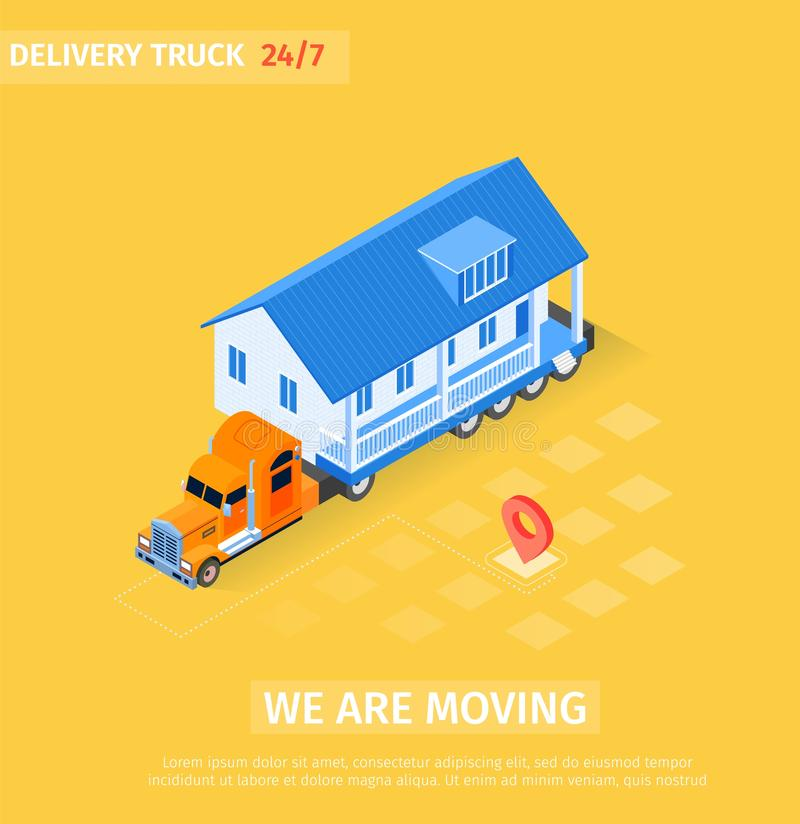 Delivery Truck is Written we are Moving Cartoon. Big Truck Transports Finished House. Modern Professional Service for Transportation Large Dimensions stock illustration