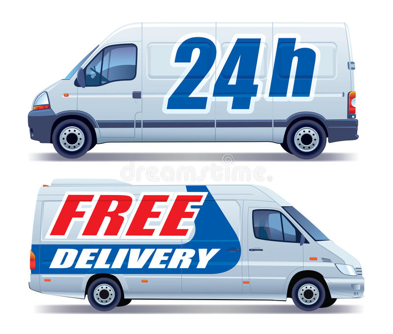 Delivery van. White commercial vehicle - delivery van - free delivery royalty free illustration