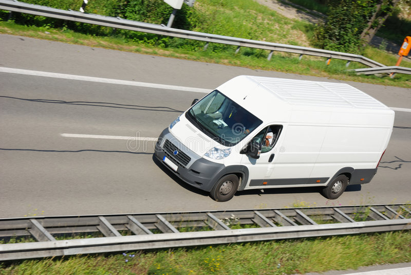 Delivery van. On german autobahn stock photo
