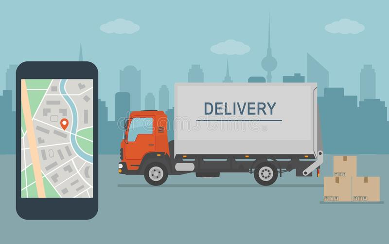 Delivery van and mobile phone with map on city background. Delivery service app on mobile phone. Delivery van and mobile phone with map on city background. Flat stock illustration