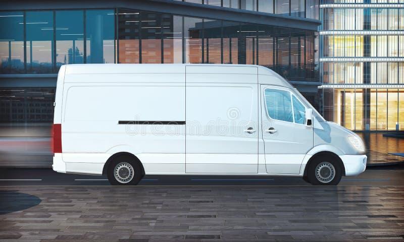 delivery van mockup on city street vector illustration