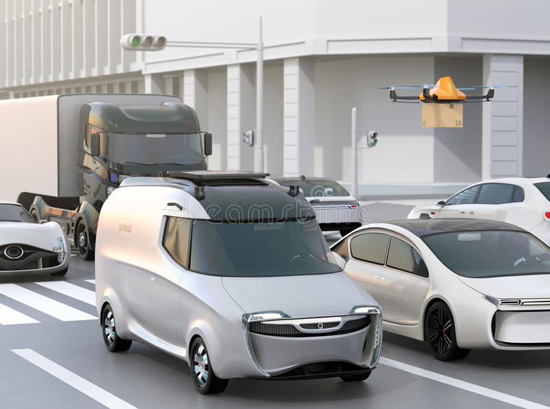 Delivery van stuck in traffic jam. The van released a delivery drone to delivering a cardboard parcel. 3D rendering image royalty free illustration
