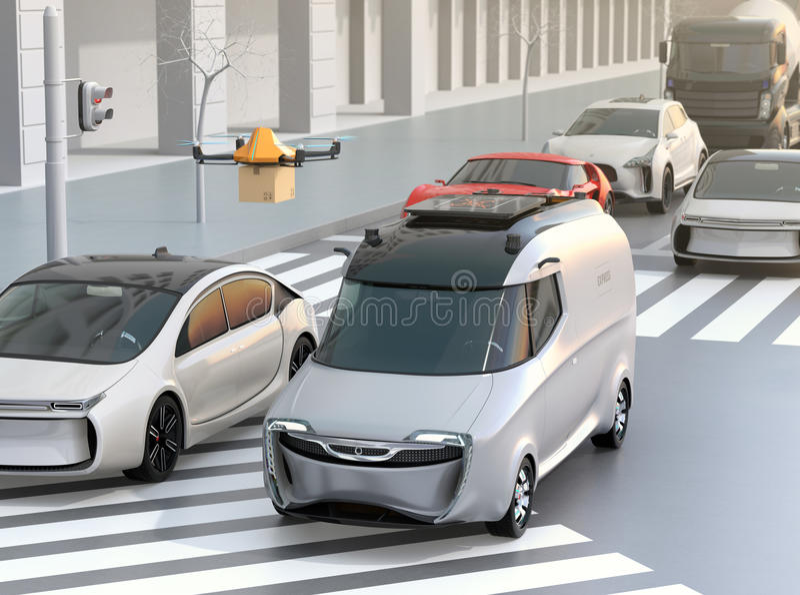 Delivery van stuck in traffic jam. The van released a delivery drone to delivering a cardboard parcel. 3D rendering image vector illustration