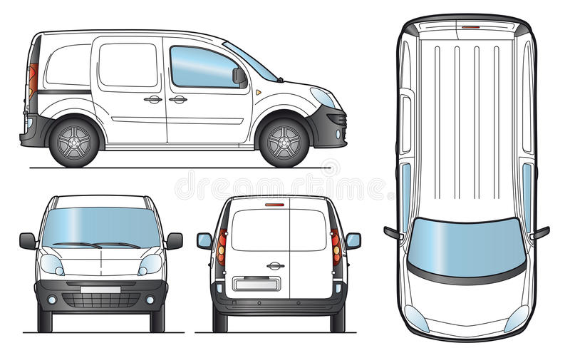Delivery Van Template - Vector Royalty Free Stock Images