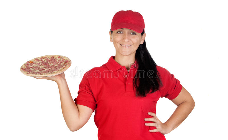 Delivery woman of pizza. Isolated on white background royalty free stock photography