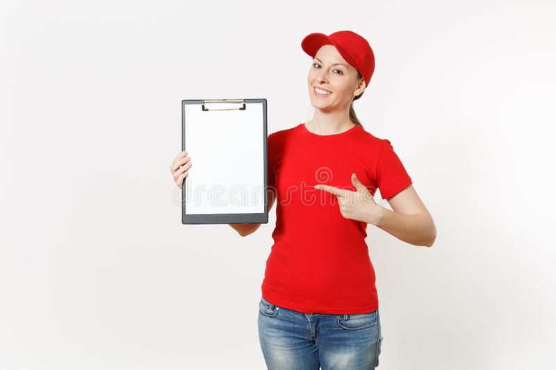 Delivery woman in red uniform isolated on white background. Female in cap, t-shirt, jeans working as courier or dealer royalty free stock photos