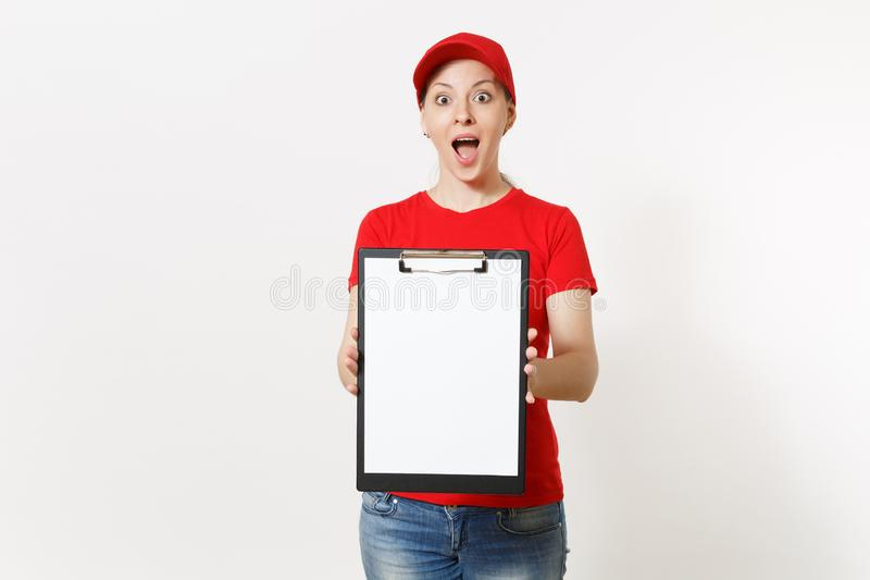 Delivery woman in red uniform isolated on white background. Female in cap, t-shirt, jeans working as courier or dealer. Holding pen, clipboard with papers royalty free stock image