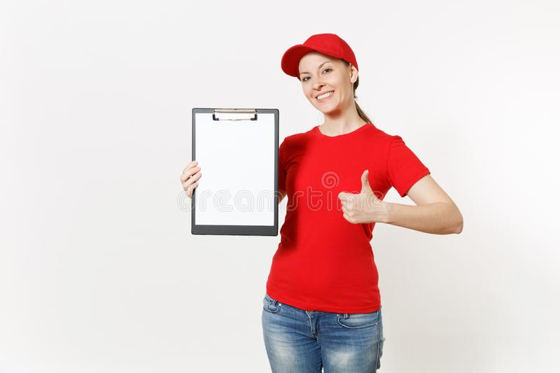 Delivery woman in red uniform isolated on white background. Female in cap, t-shirt, jeans working as courier or dealer. Holding pen, clipboard with papers royalty free stock photo