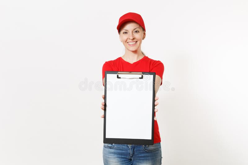 Delivery woman in red uniform isolated on white background. Female in cap, t-shirt, jeans working as courier or dealer. Holding pen, clipboard with papers royalty free stock images