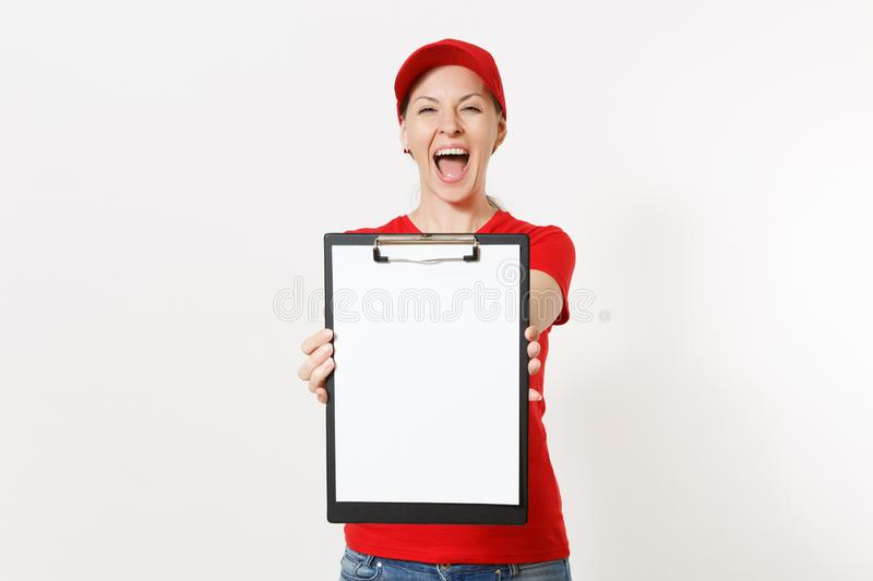 Delivery woman in red uniform isolated on white background. Female in cap, t-shirt, jeans working as courier or dealer. Holding pen, clipboard with papers stock photos