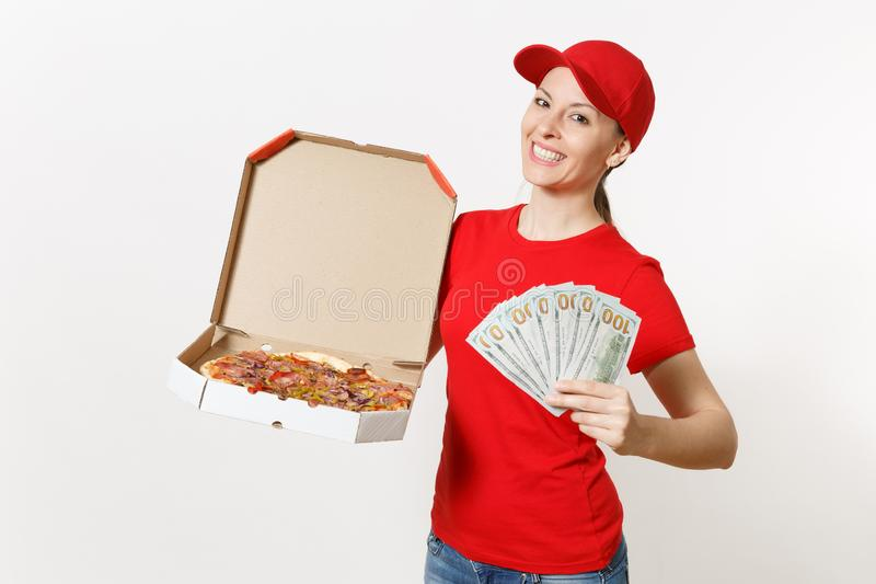 Delivery woman in red uniform isolated on white background. Female in cap, t-shirt, jeans working as courier holding. Italian pizza in cardboard flatbox, bundle stock photos