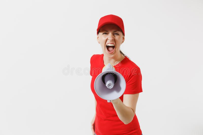 Delivery woman in red uniform isolated on white background. Female in cap, t-shirt working as courier screaming in. Megaphone hot news. Fun girl announces stock images