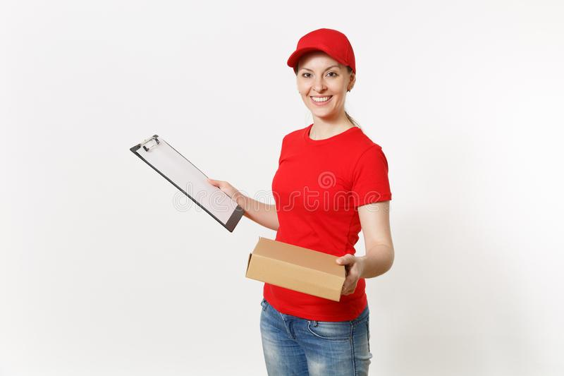 Delivery woman in red uniform isolated on white background. Female courier in cap, t-shirt holding pen, clipboard with. Papers document, blank empty sheet royalty free stock photo