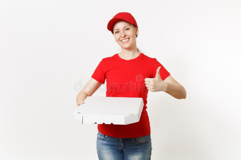 Delivery woman in red uniform isolated on white background. Pretty female in cap, t-shirt, jeans working as courier or. Dealer holding italian pizza in stock image