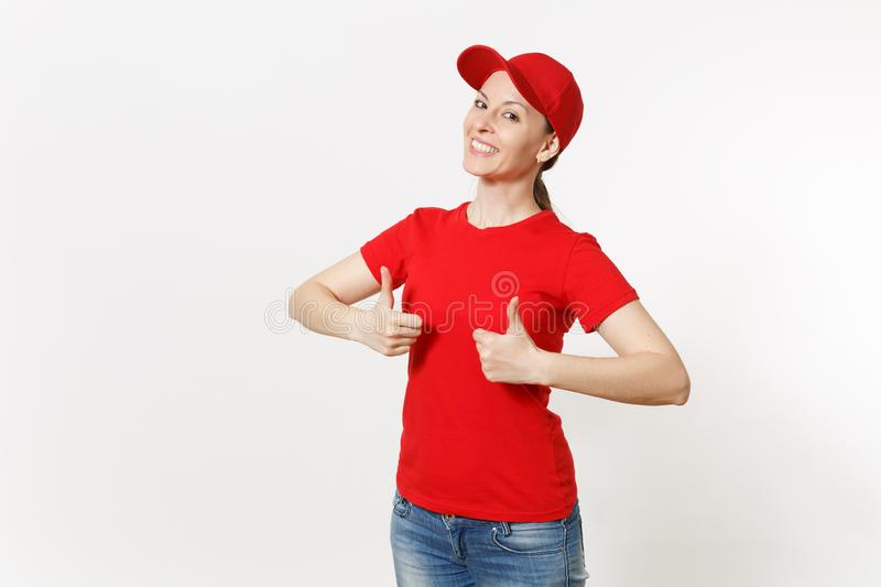 Delivery woman in red uniform isolated on white background. Professional caucasian female in cap, t-shirt, jeans working. As courier or dealer, showing thumbs royalty free stock photography