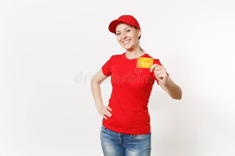Delivery woman in red uniform isolated on white background. Professional smiling caucasian female in cap, t-shirt, jeans stock photos