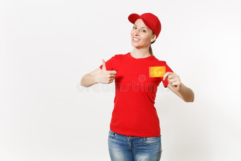 Delivery woman in red uniform isolated on white background. Professional smiling caucasian female in cap, t-shirt, jeans. Delivery woman in red uniform isolated stock image