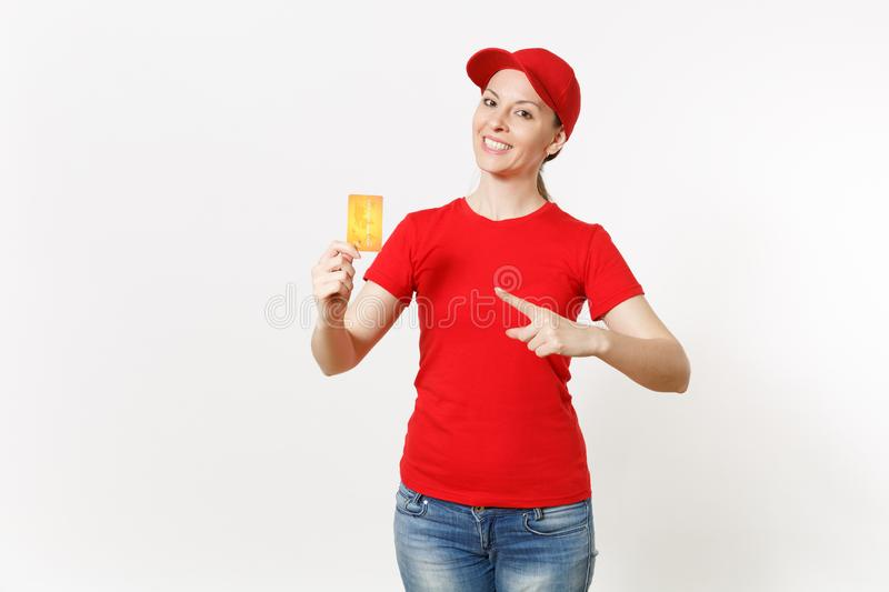 Delivery woman in red uniform isolated on white background. Professional smiling caucasian female in cap, t-shirt, jeans. Delivery woman in red uniform isolated royalty free stock images