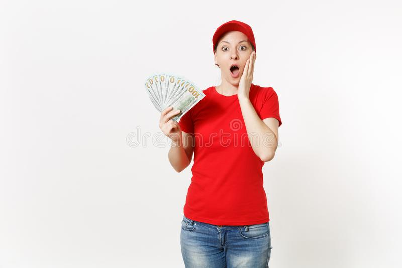 Delivery woman in red uniform isolated on white background. Shocked female in cap, t-shirt, jeans working as courier or. Delivery woman in red uniform isolated royalty free stock photos