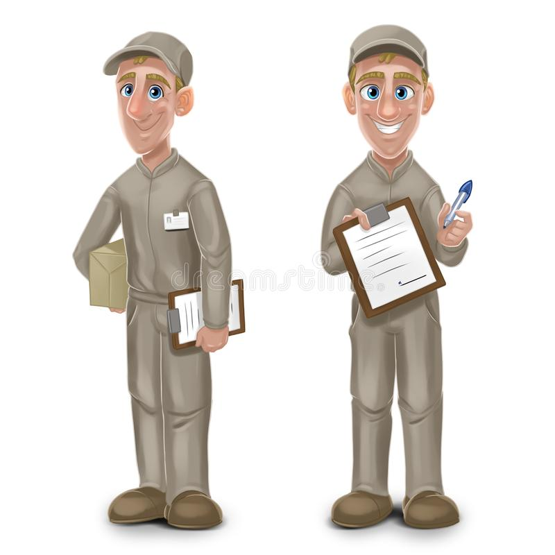 Delivery worker holding cardboard box. Cartoon character design. Delivery of packages. Two Illustrations isolated on white backgro. Und stock illustration