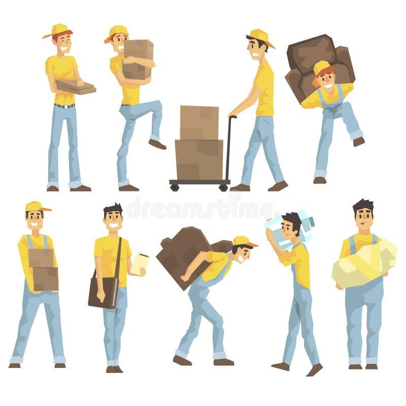 Delivery y empleados de Moving Company que llevan objetos pesados, entregando envíos y ayudando con el sistema del retiro de libre illustration