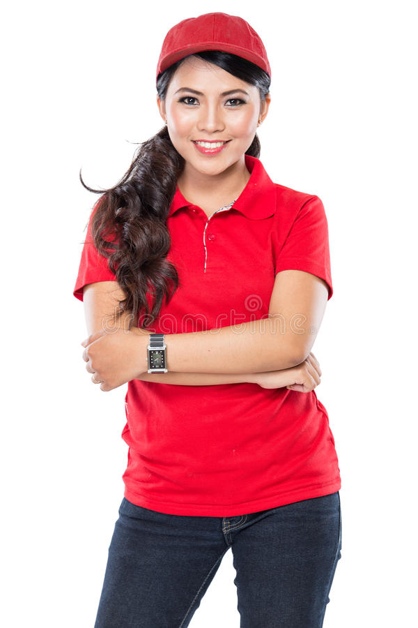 Delivery young asian woman isolated in white background stock photo