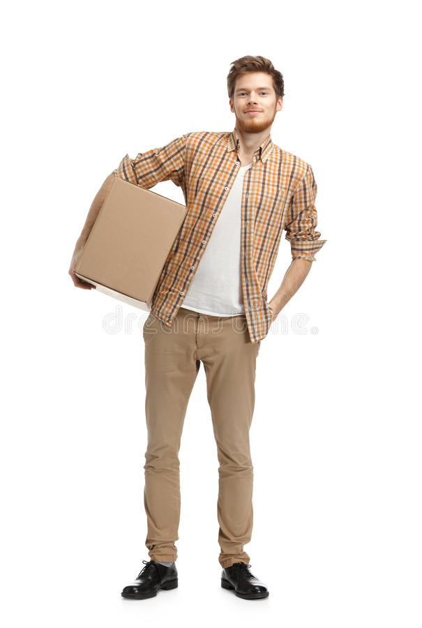 Deliveryman Keeps The Box Stock Photos