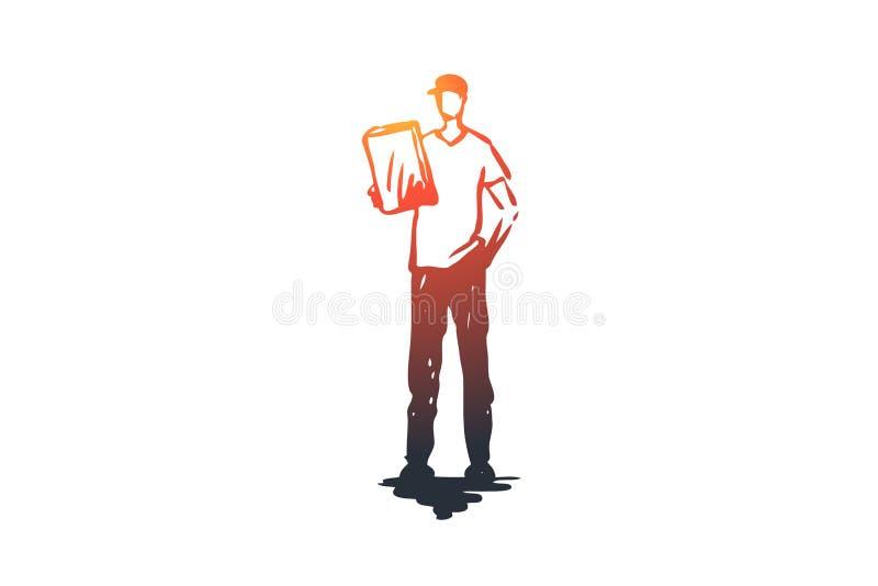 Deliveryman, usługa, pudełko, pracownik, dostarcza pojęcie Ręka rysujący odosobniony wektor ilustracja wektor