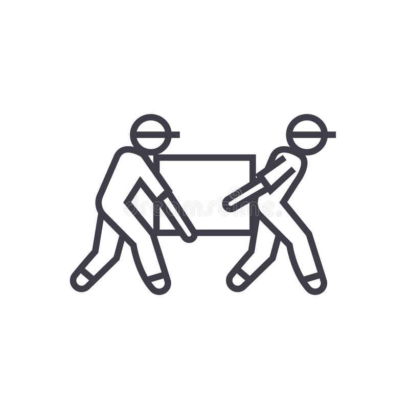 Deliverymen, box taking vector line icon, sign, illustration on background, editable strokes. Deliverymen, box taking vector line icon, sign, illustration on vector illustration