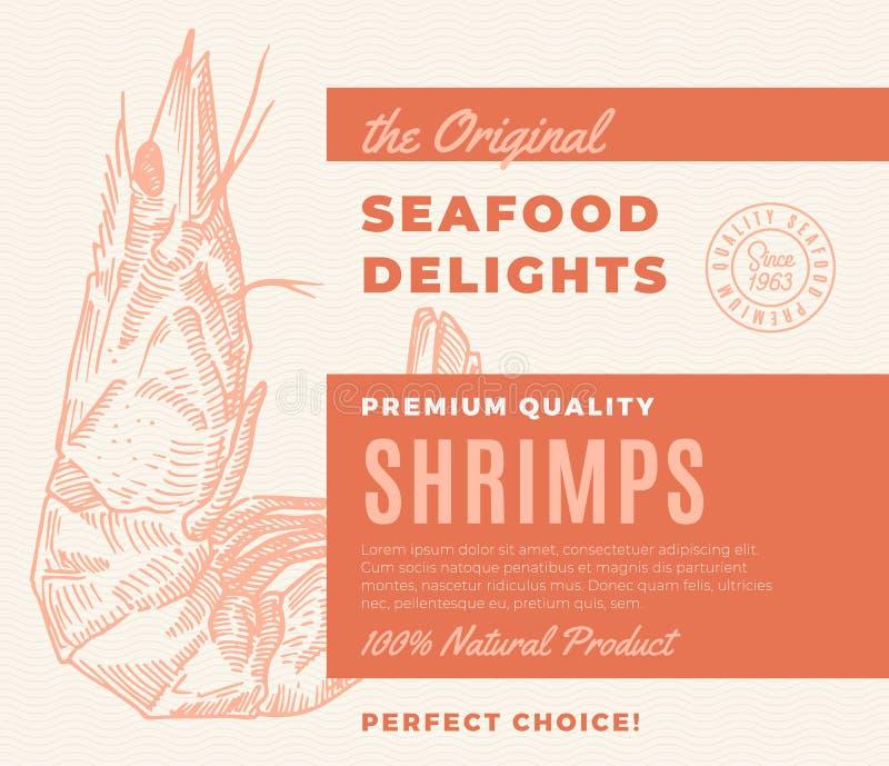 Delizie premio dei frutti di mare di qualità Progettazione o etichetta di imballaggio astratta di vettore Tipografia moderna e ga royalty illustrazione gratis