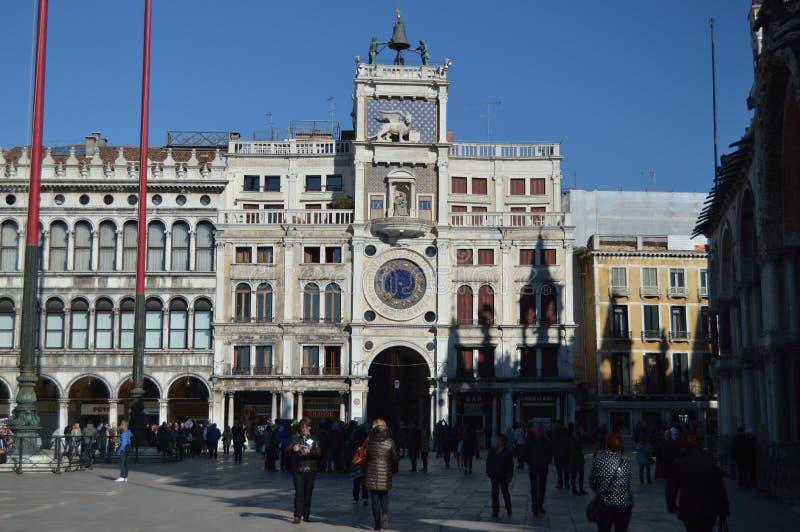 Dell 'Orologio de Torre em San Marco Square Of Venice Curso, feriados, arquitetura 27 de março de 2015 Veneza, região de Vêneto,  fotos de stock