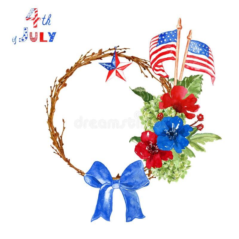 Dell'acquerello del 4 corona patriottica festiva luglio con le bandiere di U.S.A., fiori, stella nei colori tradizionali rossi, b immagini stock libere da diritti
